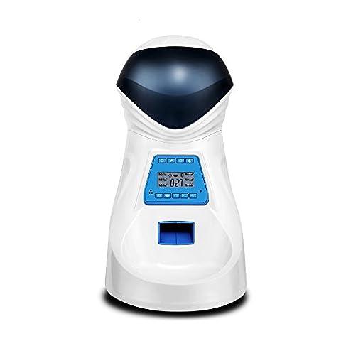 HoneyGuaridan A26 Futterautomat, Automatischer Futterspender mit akustischer Benachrichtigung und Timer Funktion, 6 Mahlzeiten für Hunde ( Mittel und Klein ) und Katzen