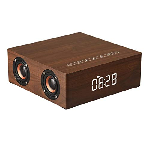 PIANAI PA® Wood Grain Bluetooth Speaker Bluetooth 4.2 Super Bass Subwoofer Hands-frei mit Mic 3.5mm AUX-IN TF Karte Slot 3000mAh,Brown