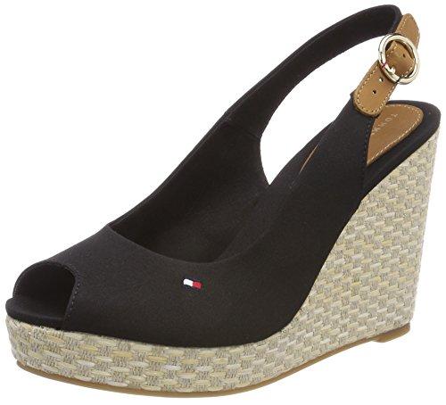 Tommy Hilfiger Damen Iconic Elena Basic Sling Back Espadrilles, Schwarz (Black 990), 38 - Schuhe Wedges Frauen Sandalen