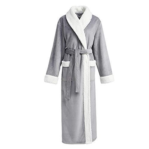 Pijamas Gruesos para Hombres Bata de Franela Batas cálidas de otoño e Invierno Albornoz Masculino