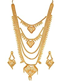 Variation Designer Gold Plated Long Bridal Necklace Set With Earrings - VD17205