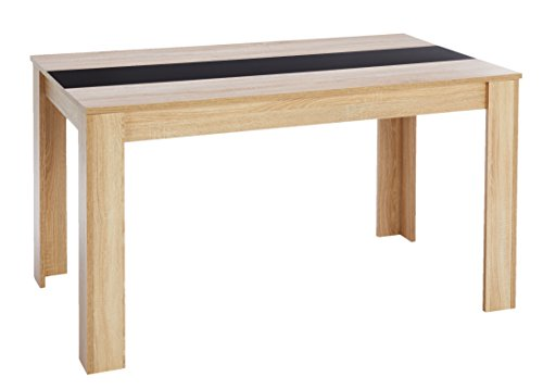 Cavardore Tisch Nico / Moderner Esstisch mit Melaminplatte in Schwarz-Weiß / Melam...