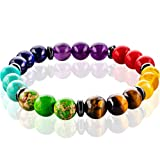 FABACH Spirituals™ 7 Chakra Perlenarmband mit 8mm Perlen Aller Sieben Chakren - Yoga Armband aus 21 Chakra Perlen - Energiearmband für Damen und Herren