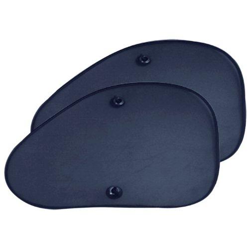 Auto7 702010 2 Pare-Soleil repliables Polyester Noir vitres latérales ou Lunette arrière Fixation Ventouse 38 x 65cm Forme trapèze
