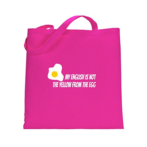 Shirtfun24 Baumwolltasche MY ENGLISH IS NOT THE YELLOW FROM THE EGG fuchsia pink rosa