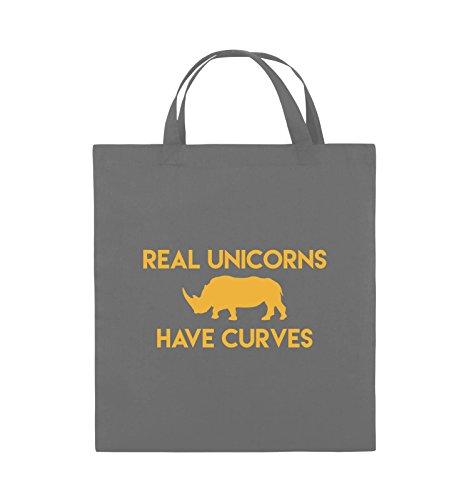 Comedy Bags - REAL UNICORNS HAVE CURVES - Jutebeutel - kurze Henkel - 38x42cm - Farbe: Schwarz / Pink Dunkelgrau / Gelb