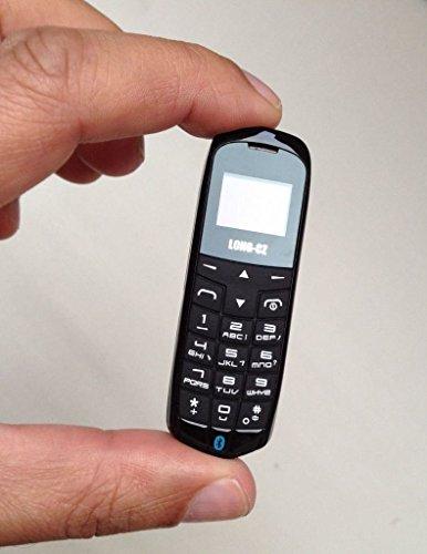 Long-CZ J8 Ultrakleines 3 in 1 Handy mit Bluetooth Freisprechfunktion & Bluetooth Kopfhörerfunktion - Simlockfrei nur 18 g in schwarz - Micro-SIM-Karte, WCDMA, FM-Radio