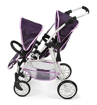 Bayer Chic 2000 691 71 Tandem-Buggy Twinny, Zwillingspuppenwagen für Puppen bis 50 cm Stars lila