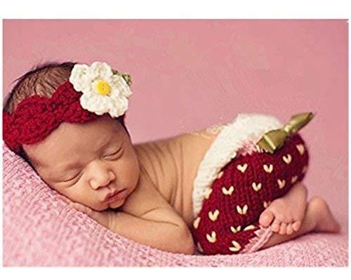 hobees Süße Neugeborene Jungen Mädchen Baby Kostüm Fotografie Requisiten Strawberry Hat Hose