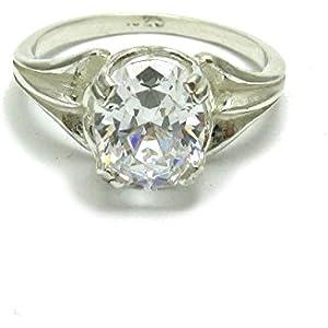 Sterling silber ring mit 10X8mm oval Kubisches Zirkonoxid 925 Empress Größe 46 - 70