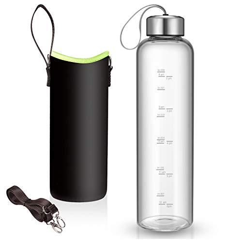 Sursip Trinkflasche aus Glas, mit Nylon-Schutzhüllen und Edelstahldeckel, 1 l, mit Zeitmarkierung für unterwegs, wiederverwendbar, umweltfreundlich, schwarz