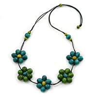 Avalaya Green/Teal Wood Bead Floral Black Cotton Cord Necklace - 80cm L