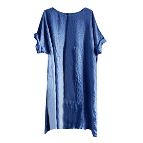 Frauen Damenkleider Kurzarm Tunikakleid Lose T-Shirtkleid ❀Elecenty❀ Casual Tops Long Shirt Strandkleider Minikleid Freizeitkleidung -