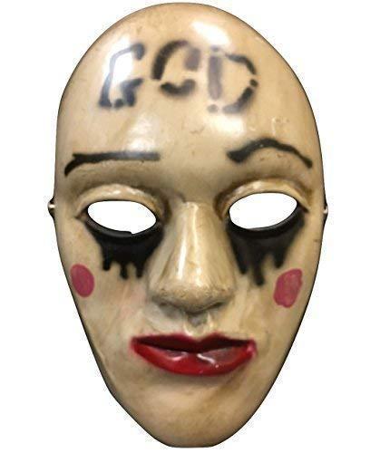 La Purga anachy ' Dios ' Película Halloween Máscara fibra de vidrio LUJO Cosplay universal TALLA con / Ajustable Tira y hebilla