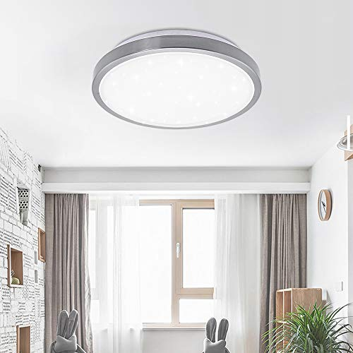 12W LED Deckenleuchte,Sternenlicht, Wohnzimmer, Flur, Schlafzimmer, Weiß, Starlight Effekt, Ø344mm Sternenlicht Deckenleuchte Umweltschutz Energiesparlampe Lebensdauer 50000 Stunden