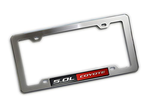 Preisvergleich Produktbild Highly Polished CHROME Plated Silver LICENSE Plate Tag FRAME with RED BLACK 5.0L COYOTE Aluminum Emblem Badge Nameplate Hood Trunk Fender Car Truck Auto Swap for Ford Mustang GT Boss 302hp 360hp 412hp 420hp 435hp horsepower F150 F-Series Falcon
