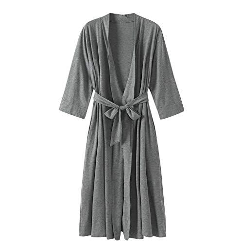 4/3 Ärmel Unterwäsche V-Ausschnitt Leicht Mit Gürtel Lange Robe Bademantel Nachtwäsche ()