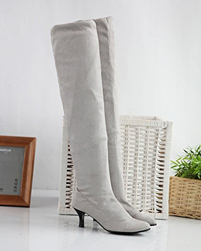 Minetom Donna Inverno Overknee Stivali Scamosciato Scarpe Scarpe a punta Lungo Stivali Moda Coscia Alto Stivali Grigio