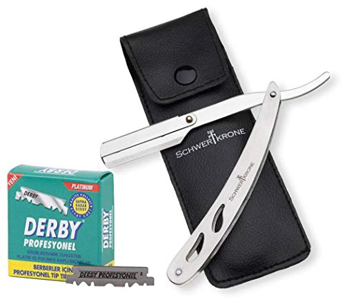 Schwertkrone Rasiermesser Edelstahl + 100 halbe Derby Wechselklingen + Transporttasche | Rasiermesser Set Herren für Einsteiger & Fortgeschrittene Rasiermesser