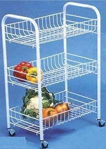 3niveaux de fruits et légumes pour roues blanc étagère de rangement à roulettes