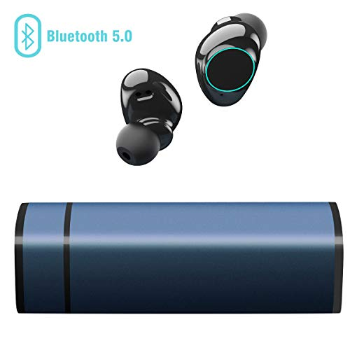 Cuffie bluetooth 5.0, auricolari bluetooth muzili tws leggeri hi-fi cuffie cancellazione rumore,auricolari sport ip65, earbuds con mic per iphone e android con scatola ricarica portatile - blu