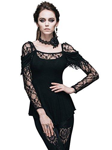 Bhome Fashion Tunika festliche Bluse Langarm T-Shirt Gothic Punk Romantic Lolita schwarz