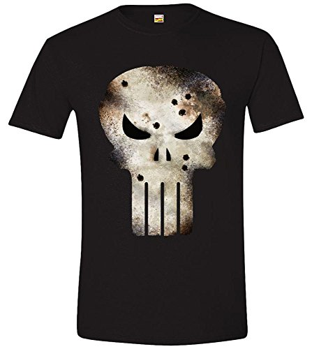 Marvel Punisher Shot - Camiseta para hombre, color negro, talla...
