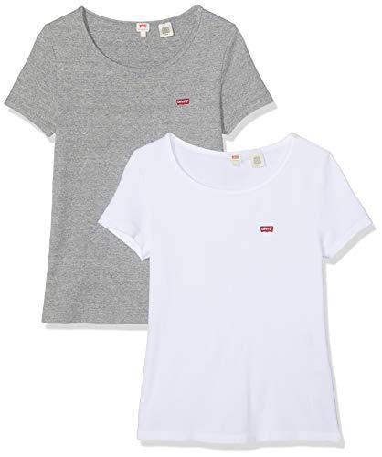 Levi\'s Damen 2Pack Tee T-Shirt, Mehrfarbig (2 Pack White +/Smokestack Htr 0005), Medium (Herstellergröße: M)