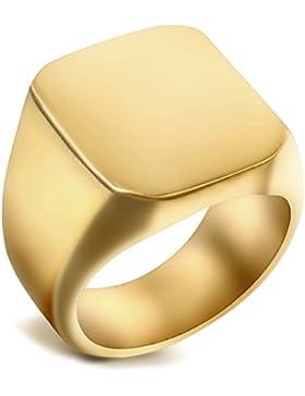 Flongo Edelstahl Ring Ringe Gold Golden Quadrat Square Siegel Signet Polished Biker Herren