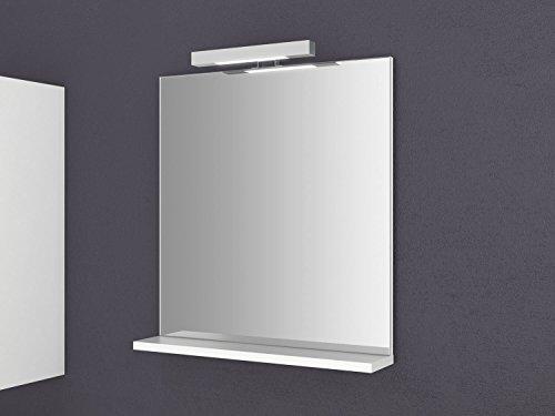 Spiegel mit Ablage Girona 60 und 80 cm breit Beleuchtung Wandspiegel Badspiegel weiß Sieper (60)