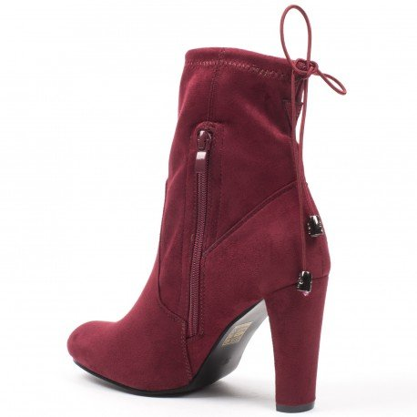 Ideal Shoes - Bottines montantes effet daim Pamella Rouge