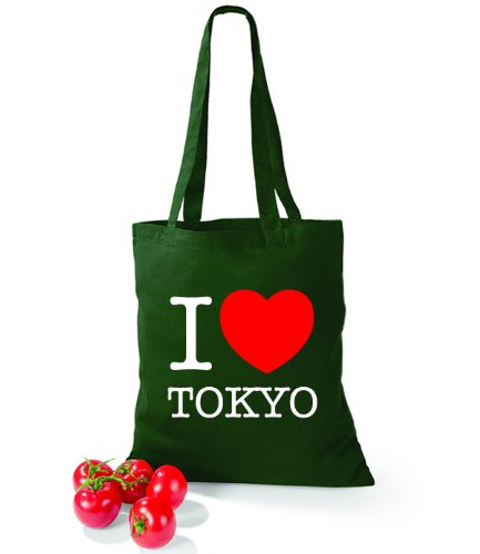 Artdiktat Baumwolltasche I love Tokyo Bottle Green