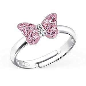 Kleine Rosa Kristall Schmetterling Ring 925 Echt Silber Mädchen Kinder/Verstellbar