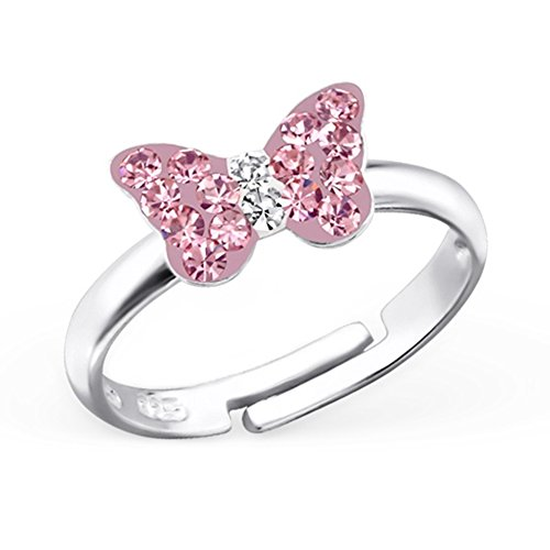 GH1a ROSA Kristall Schmetterling Ring 925 Echt Silber Mädchen Geschenkidee / Verstellbar (Mädchen Rosa Ring)