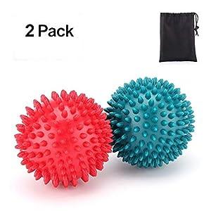 Casefashion 2 Stcke Massageball 8 Cm 2 Mit Noppen Massagekugel Reflexzonen Erleichterung In Bezug Auf Die Schmerzen Zur Behandlung Plantarfaszien Entzndung Hart In Farbe Rot Grn Massage Ball
