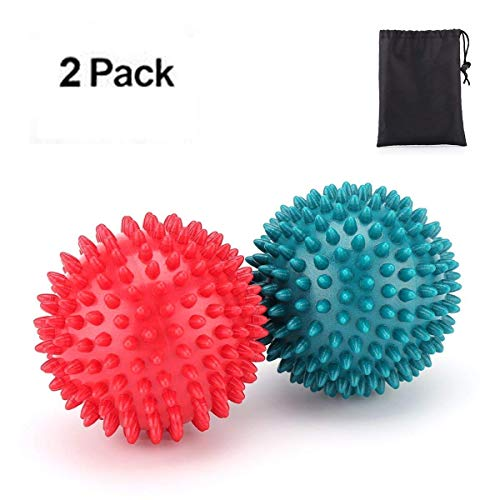 e Massageball Massagebälle 8 CM * 2 mit Noppen Massagekugel Reflexzonen Erleichterung in Bezug auf die Schmerzen zur Behandlung Plantarfaszien Entzündung Hart Massage ball Igelball ()