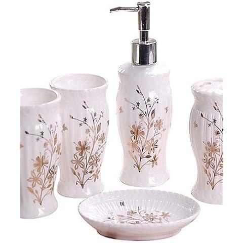 haisi accesorios de baño/toallero/Racks/gancho/Pasta de dientes/cepillo/Fein dispensador de jabón caja algodón Diseño de Hojas baño Cinco Pieza Traje + Box