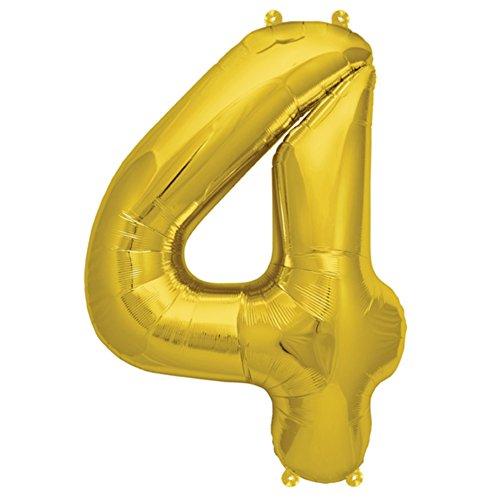 ballonfritz® Ballon Zahl 4 in Gold - XXL 40