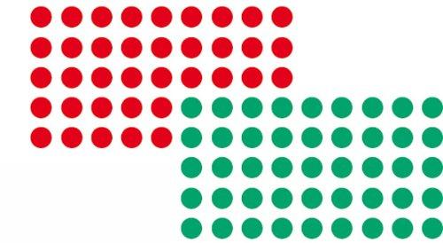 Franken UMZ P19/12 Moderationsklebepunkt (Kreis, 19 mm) 1000 stück, rot/grün