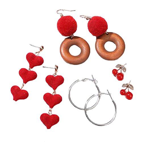 4 paires belle boucle d'oreille femmes oreille Stud mode boucles d'oreilles filles mignon boucle d'oreille -A6