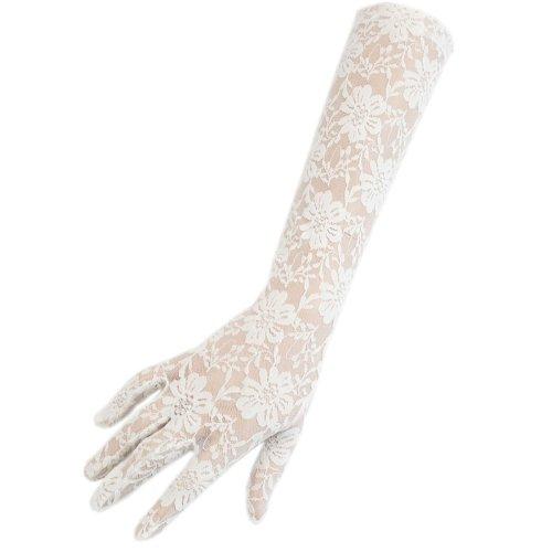 Damen Mädchen Hochzeit Ball Hen Fancy Spitze Ellenbogen Länge Elegante Burlesque Handschuhe, Weiß (Girl 20er Jahre Gangster Kostüm)