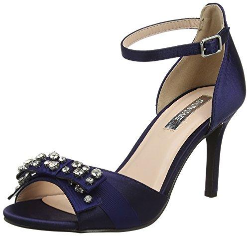 Dorothy Perkins Suki Bow, Sandales à Talon Femme Bleu (Bleu marine)