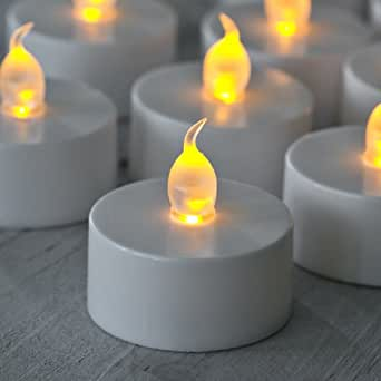 lot de 30 bougies chauffe plat piles avec flamme led vacillante de lights4fun. Black Bedroom Furniture Sets. Home Design Ideas