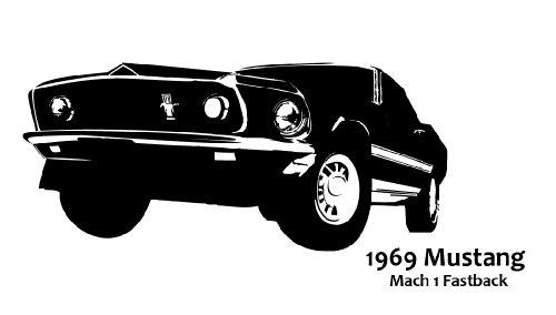 DD Dotzler Design � Ford Mustang Mach 1 Fastback 1969 - Wandtattoo, pink, 117 x 53 cm (Ford Mustang Pink)