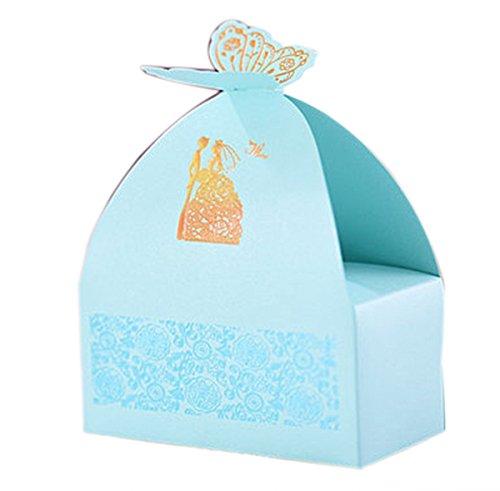 sanfte blaue Hochzeit Geschenkideen bevorzugen Konfektschachteln Partei Baby Dusche Geschenke-Box 20 Stück mit Schmetterlinge (Bonbons oder Pralinen nicht enthalten)