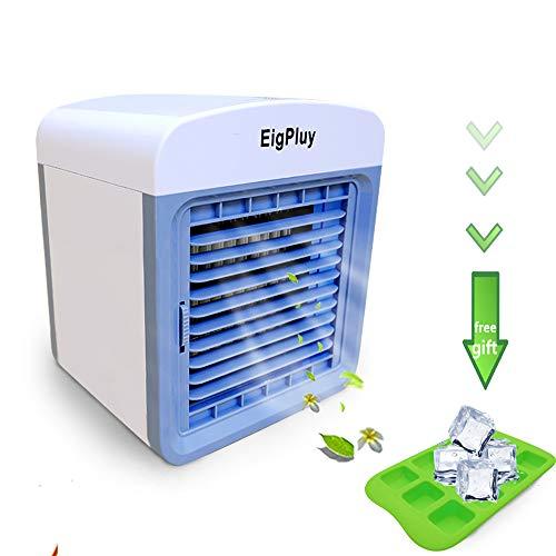 EigPluy Espacio Personal Enfriador de Aire Mini Aire Acondicionado Portátil USB Ventilador Escritorio 4 en 1 Aire Enfriador Evaporativo con Humidificador y Purificador