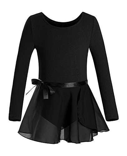 Mangotree Ballettanzug Turnanzug Langarm Ballett Body Trikot Kleid Mädchen Tanzen Gymnastik Ballett Grundausstattung mit Wrap-Round Rock (110 (3-4 Jahre alt), Schwarz) (Mädchen Diy-kostüme Niedliche Für)