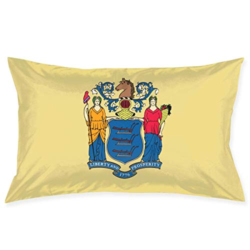 New Jersey Flag Novelty Cute Funny Soft and Cozy with Hidden Zipper 1pc Queen Size 20''X30'' ()