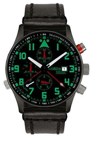 Astroavia Herren-Armbanduhr Alarm Chronograph Quarz mit Leder Armband R4BL