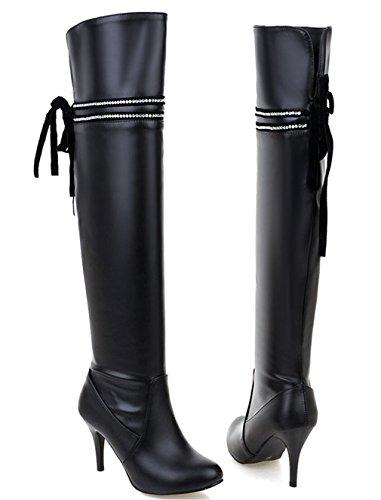 YE Damen Spitze Overknee Stiefel Stiletto mit Schnürung High Heels Kniehoch Reißverschluss Boots Schwarz